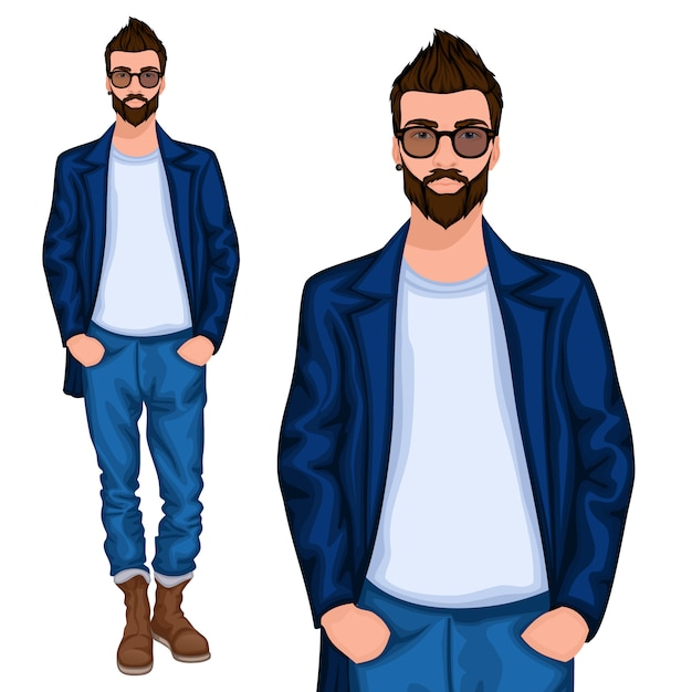 Hipster young guy character Premium Vector