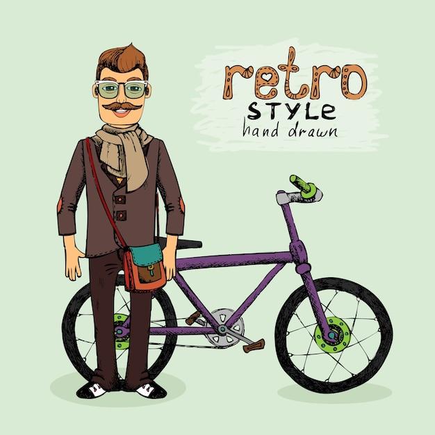 自転車ベクトルイラストスケッチと流行に敏感な若い男 無料ベクター