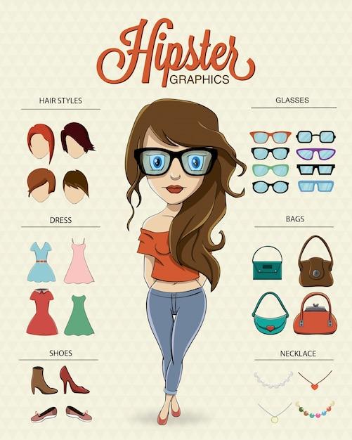 Hipster девушка характер Бесплатные векторы