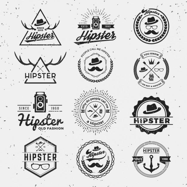 Коллекция логотипов hipster Бесплатные векторы