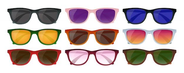 Набор солнцезащитных очков hipster Бесплатные векторы