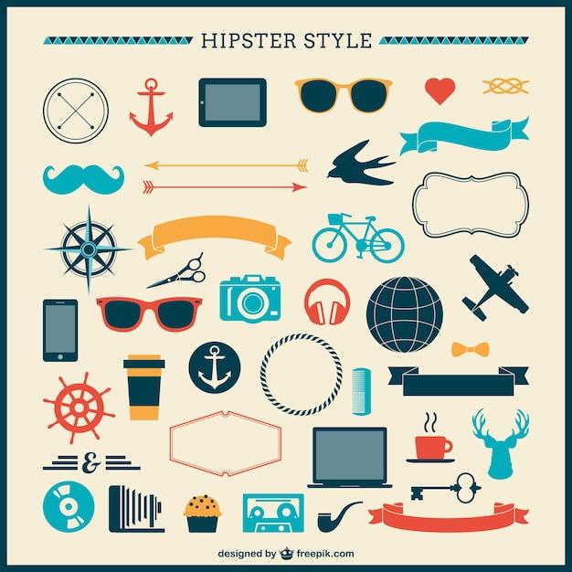 Коллекция hipster украшения Бесплатные векторы