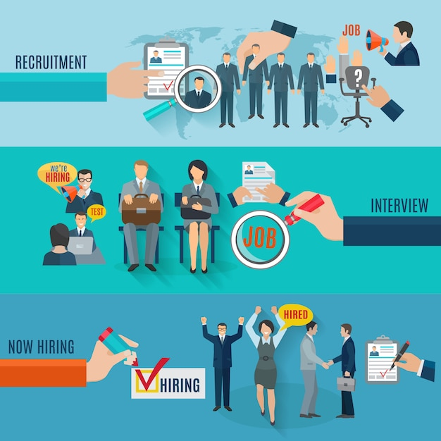 Hire horizontal banner set with recruitment interview flat elements isolated Free Vector