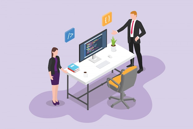 Hire programmer or software developer vacancy concept with empty chair program with isometric Premium Vector