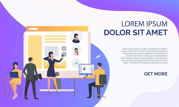 Hiring agency, applicants and job interview and sample text Free Vector