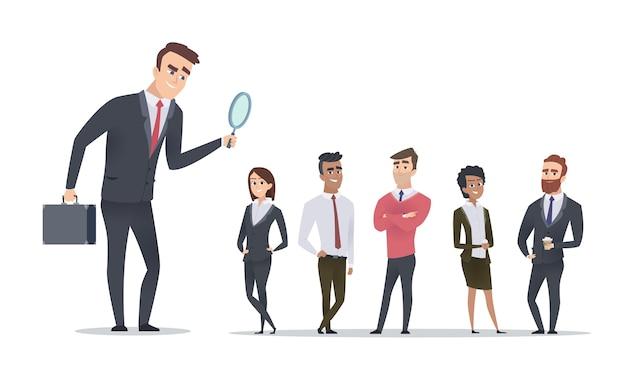 Концепция найма. менеджер по персоналу ищет сотрудников. мультфильм деловых людей векторные иллюстрации. персонал и найм, кандидат на бизнес-набор Premium векторы