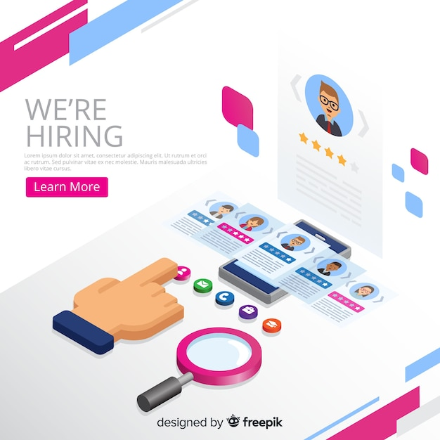 Hiring concept isometric background Free Vector
