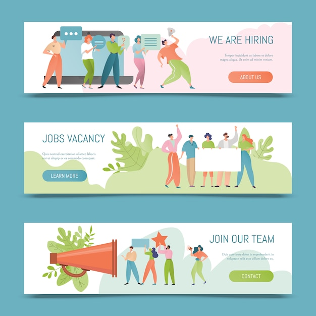 Hiring  illustration. job vacancy banner concept. employer hire for work. hired people offer to join the team. Premium Vector