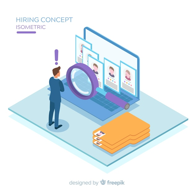 Hiring isometric background Free Vector