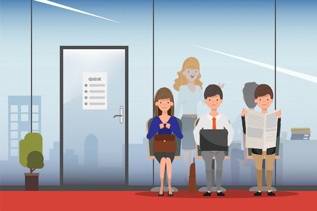 Hiring job interview business human resource. Premium Vector