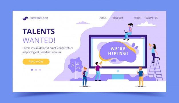 Hiring landing page. concept illustrations for human resources Premium Vector