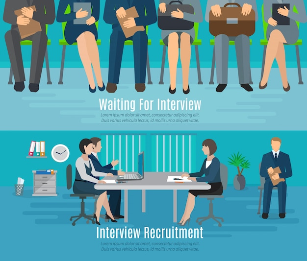 Hiring process banner set with people waiting for recruitment interview flat elements Free Vector