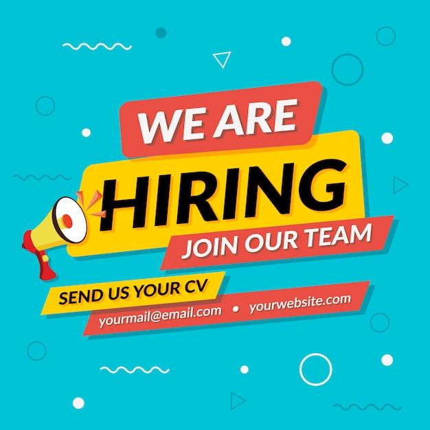 Hiring recruitment banner template Premium Vector