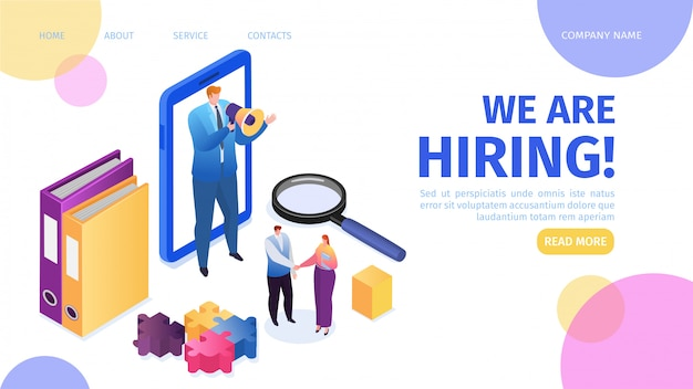 採用、採用、キャリア、仕事の雇用ランディングページの図。就職の面接、募集代理店、人事マネージャーが候補者の従業員を雇うためにメガホンのそばに立っています。 Premiumベクター
