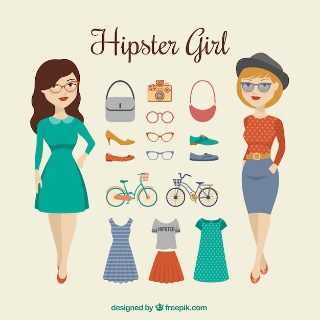 Hispter girl Premium Vector