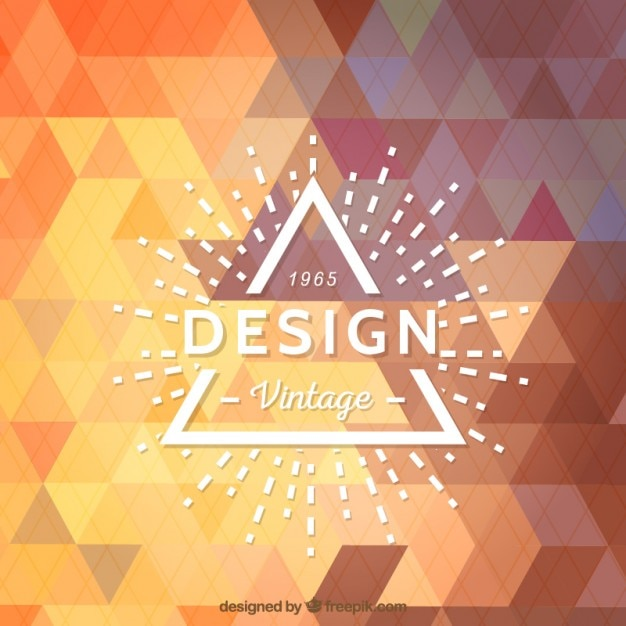 Hispter logo on geometric background Free Vector