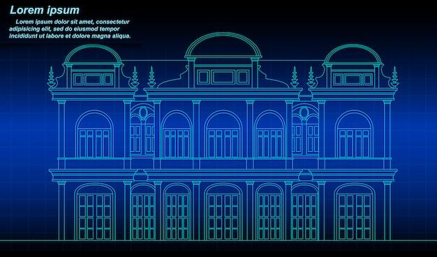 Historic thai building outline. Premium Vector