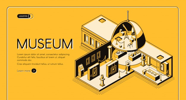 Historical, art or science museum cross section isometric vector web banner Free Vector