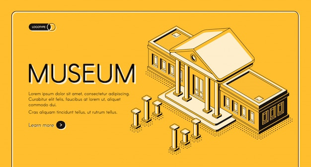 Historical, art or science museum isometric vector web banner Free Vector