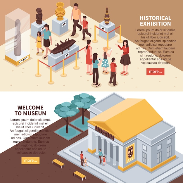 Historical exhibition isometric banners Free Vector