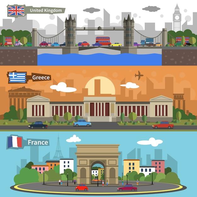Historical landmarks skyline banners set Free Vector