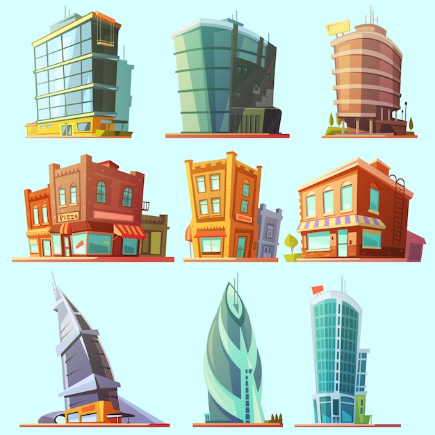 Historical and modern buildings illustration Free Vector