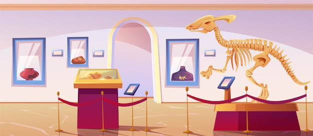 Historical museum interior with dinosaur skeleton Free Vector