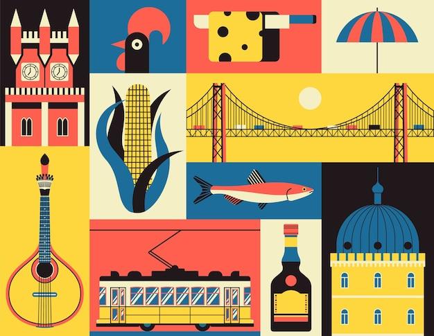 Исторические символы лиссабона, португалия. набор иконок в стиле. португальский ориентир. гитара, кукуруза, рыба, замок, желтый трамвай, петух, сыр, пляж, ликер, мост. Premium векторы