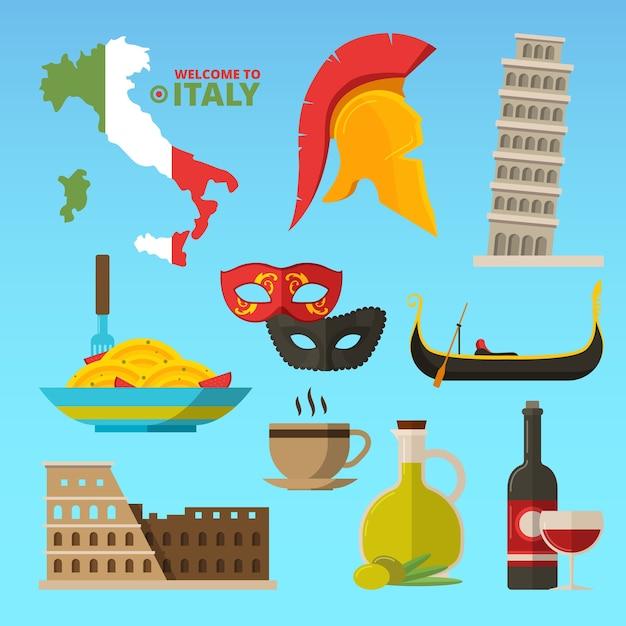 イタリアのローマの歴史的シンボル。イラスト。イタリア旅行とイタリアの観光、ローマのランドマーク、スパゲッティと記念碑 Premiumベクター