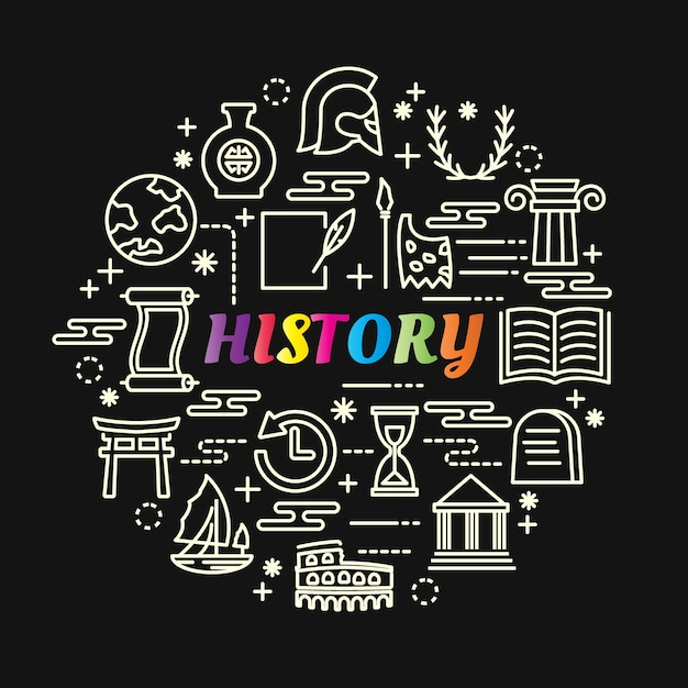 History colorful gradient with line icons set Premium Vector