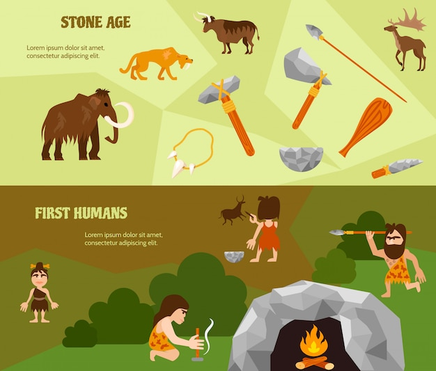 History flat horizontal banners with ancient weapon animals tribe caveman cave Free Vector