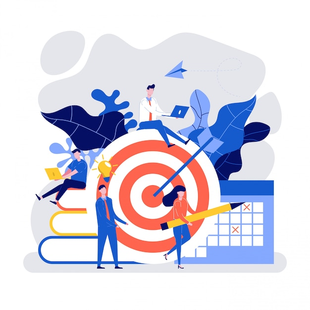 Premium Vector | Hit the target with an arrow, people working together to  achieve business target.
