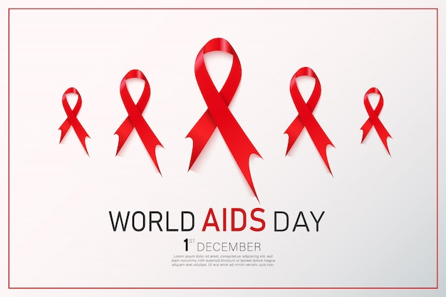 Hiv awareness red ribbon. world aids day concept. Premium Vector