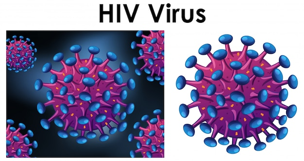 Hivという名前のウイルスの孤立したオブジェクトを閉じる 無料ベクター