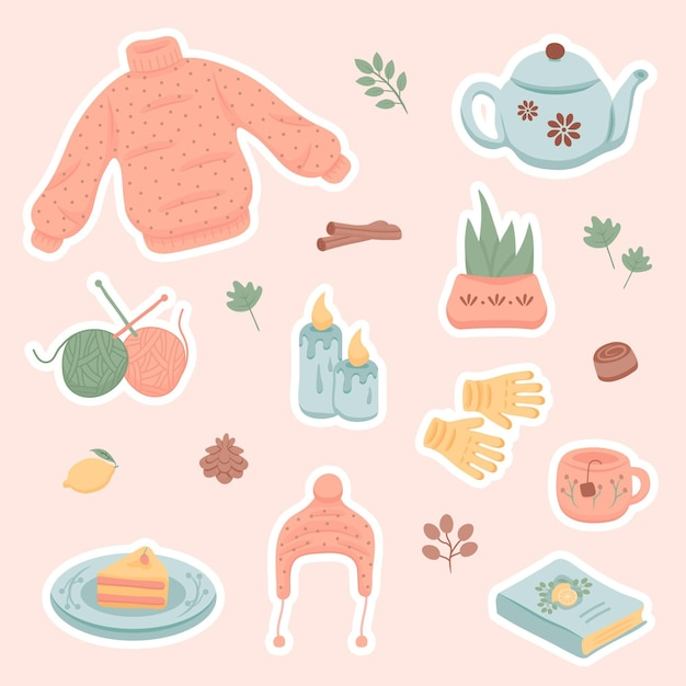 Hnd drawn winter and autumn hygge stickers Free Vector