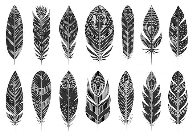 自由ho放に生きる羽民族グリフ、黒いシルエットセット、手描き民族インド、アステカの部族のシンボル。 Premiumベクター