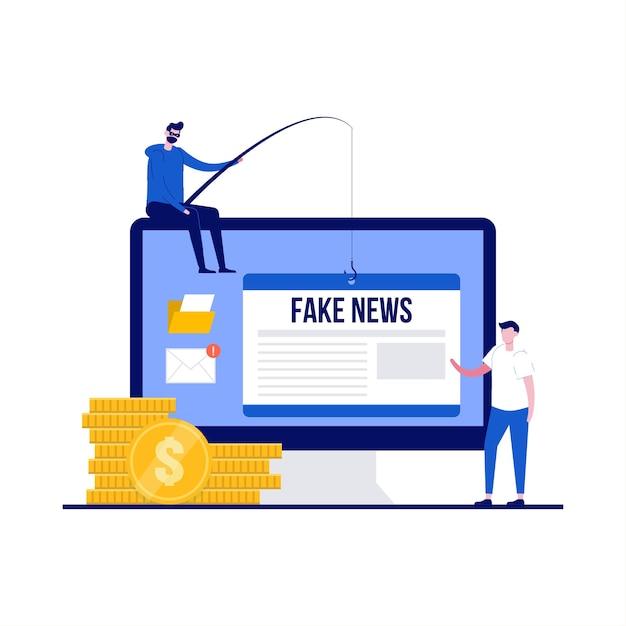 キャラクターとデマフェイクニュースのコンセプト。偽情報やデマは、オンラインのソーシャルメディアや偽のニュースサイトを介して広まります。ランディングページ、モバイルアプリ、ポスター、チラシ、ヒーロー画像のモダンなフラットスタイル。 Premiumベクター