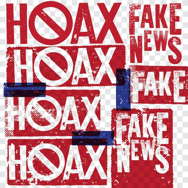 Hoax and fake news rubber grunge stamp collections Premium Vector