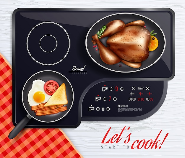 Hob surfaces cooking poster Free Vector