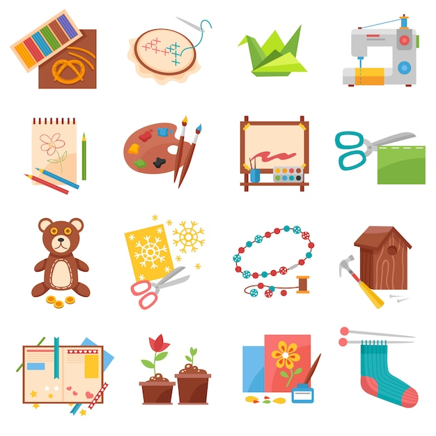 Hobbies icons set Free Vector