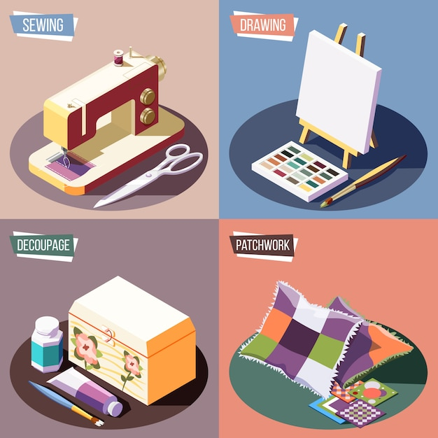 Hobby crafts isometric colorful 2x2 design concept with sewing drawing decoupage and patchwork 3d isolated Free Vector