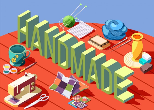 Hobby crafts isometric composition with various tools for creating handmade objects 3d Free Vector