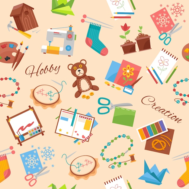 Hobby and handicraft pattern Free Vector
