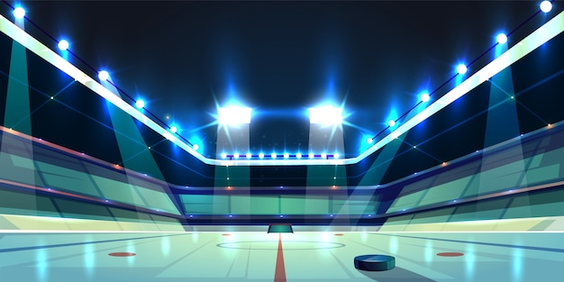 Hockey arena, ice rink with black rubber puck. sports stadium with spotlights Free Vector