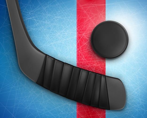 Хоккейная клюшка и шайба на льду Бесплатные векторы