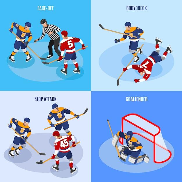 Хоккейная концепция 4 изометрических композиции с защитниками, останавливающими атаку лицом к лицу и вратарем Бесплатные векторы