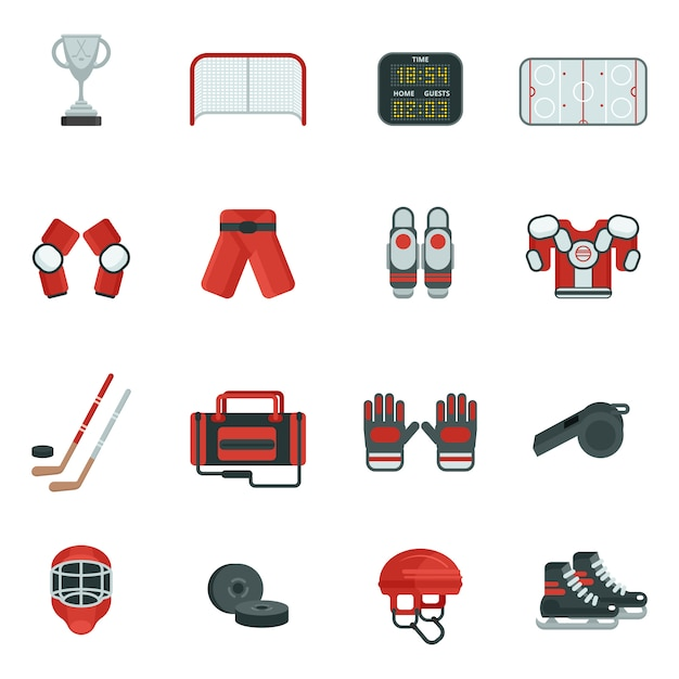 Hockey decorative icon set Free Vector