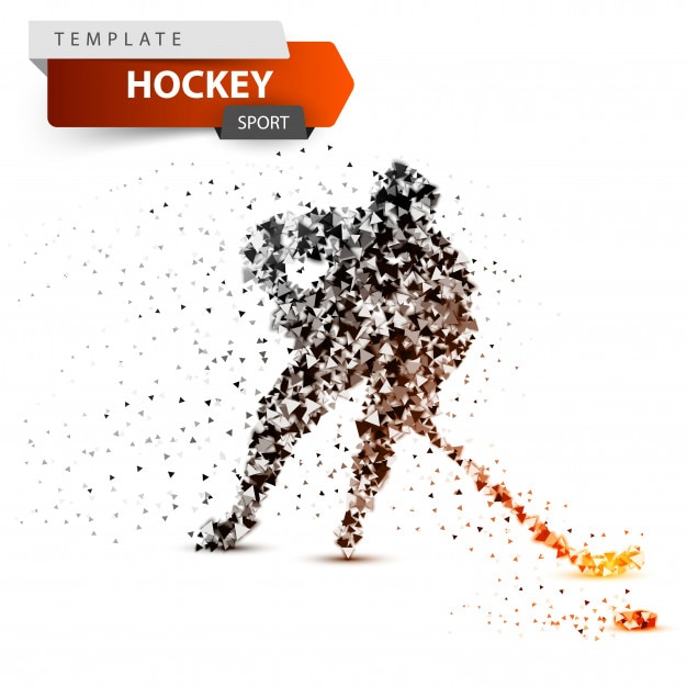 Hockey dot template. stick and washer illustration. Premium Vector