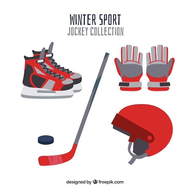 Hockey elements collection in flat\ design
