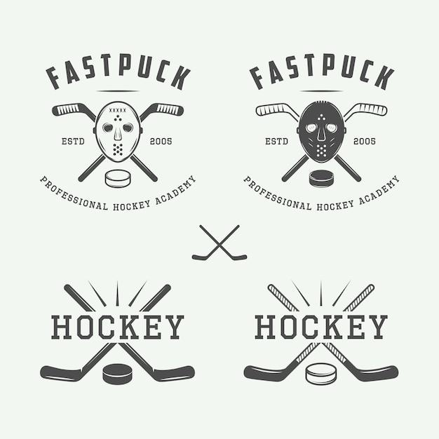 Hockey emblems, logo set Premium Vector